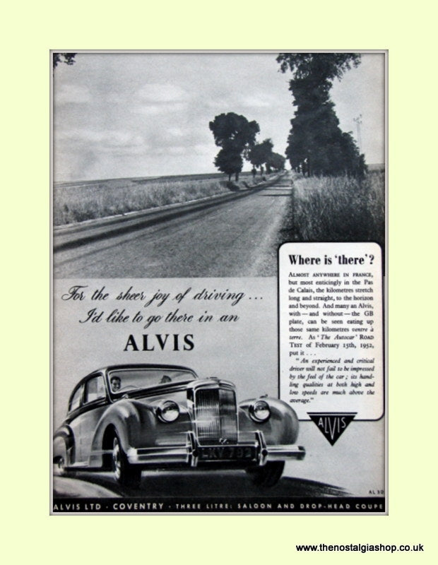 Alvis Cars 1952 Original Advert (ref AD6629)