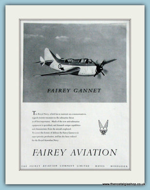 Fairy Gannet Aircraft. Original Advert 1953 (ref AD4241)
