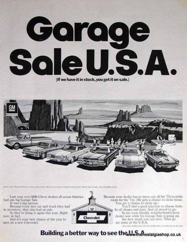 Chevrolet..Garage Sale U.S.A. Original Advert 1973 (ref AD4012)