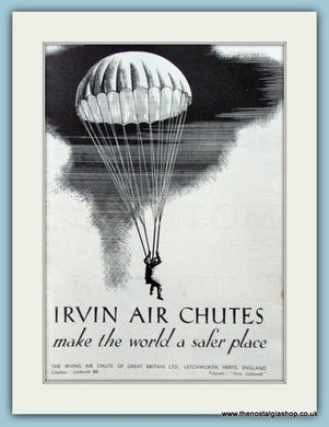 Irvin Air Chutes. Original Advert 1937 (ref AD4205)