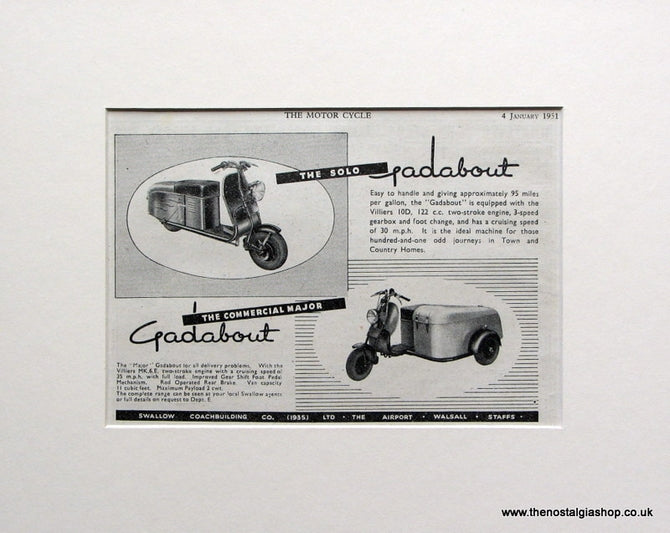 Gadabout Scooters. 1951 Original advert (ref AD1572)