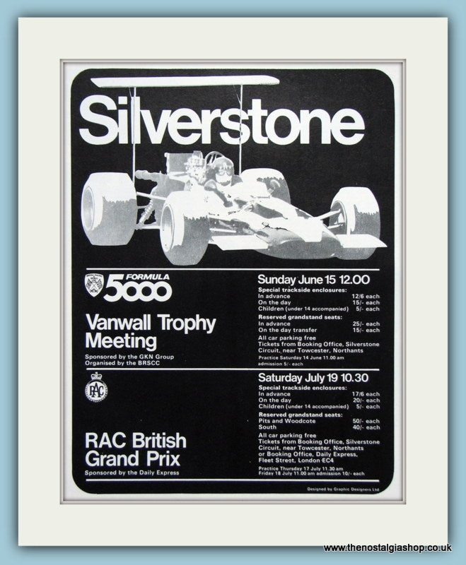 Silverstone Formula 5000 & British Grand Prix 1969 Original Advert (ref AD1993)