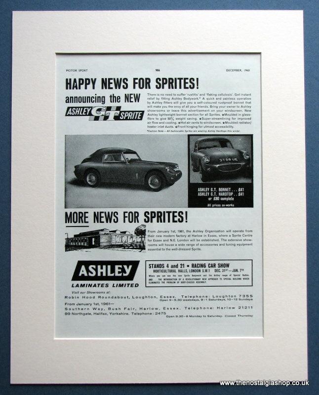Ashley GT Sprite 1960 Original Advert (ref AD1455)