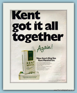 Kent Menthol Cigarettes Original Advert 1971 (ref AD8202)
