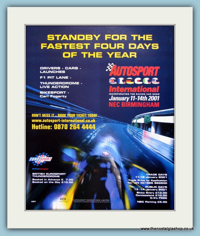 Autosport International Car Show 2001. Original Advert (ref AD2031)