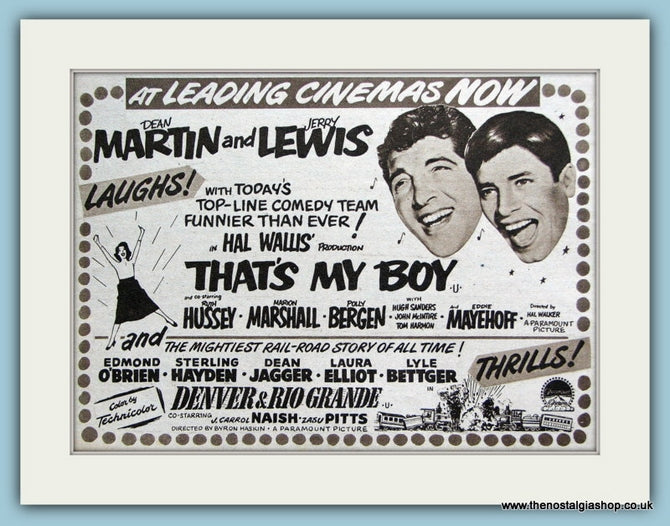 That's My Boy starring Dean Martin, 1952 Original Advert (ref AD3211)