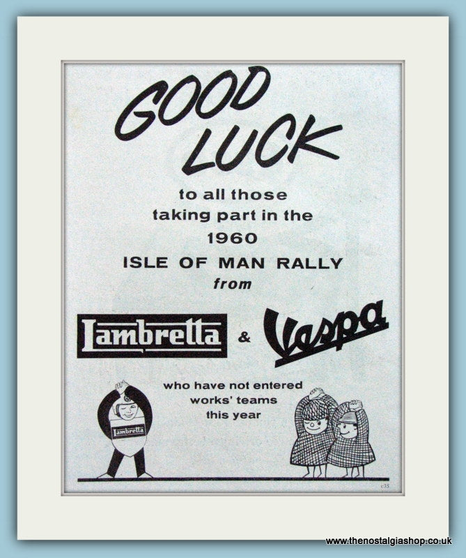 Lambretta & Vespa Isle of Man Rally Advert 1960 (ref AD4090)