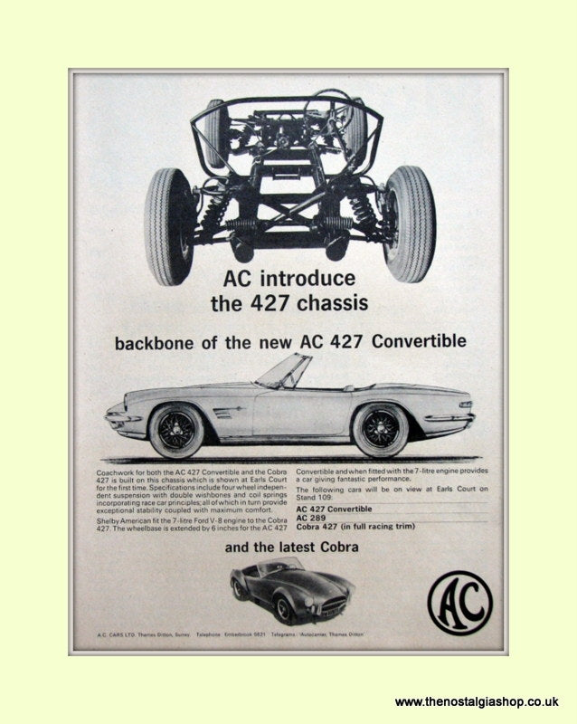 AC 427 Convertible. 1965 Original Advert. (ref AD6613)