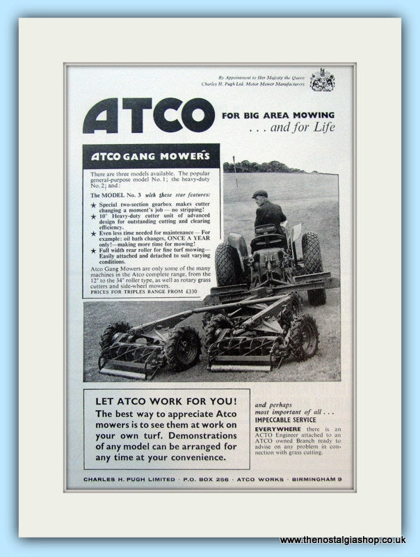 ATCO Gang Mowers. Original Advert 1968 (ref AD4646)