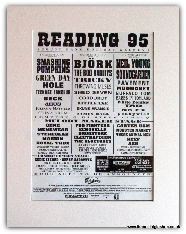 Reading Festival 1995 Advert.Green Day, Neil Young (ref AD1829)