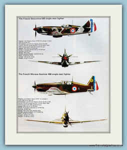 French Dewoitine 520 & Morane-Saulnier 406 Single Seater Fighters. Print (ref PR584)
