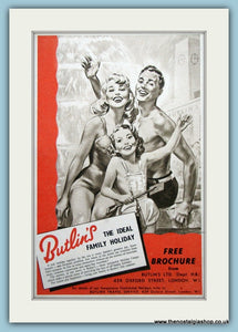 Butlins Holidays. Original Advert 1953 (ref AD3649)