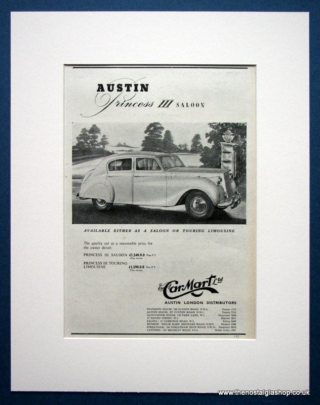 Austin Princess III Saloon. Original advert 1954 (refAD1386)