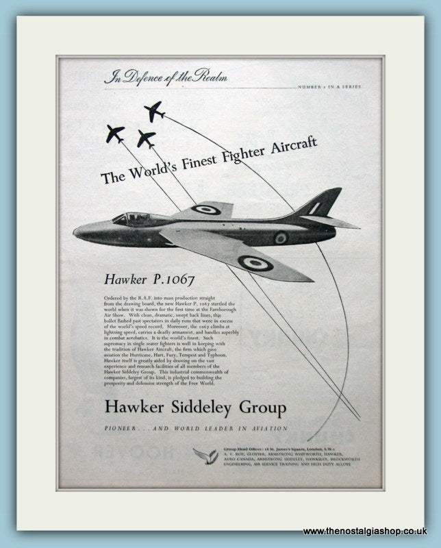 Hawker Siddeley Group The Hawker P.1067 Aircraft Original Advert 1952 (ref AD6279)