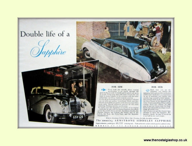 Armstrong Siddeley Sapphire Original Advert 1954 (ref AD6681)