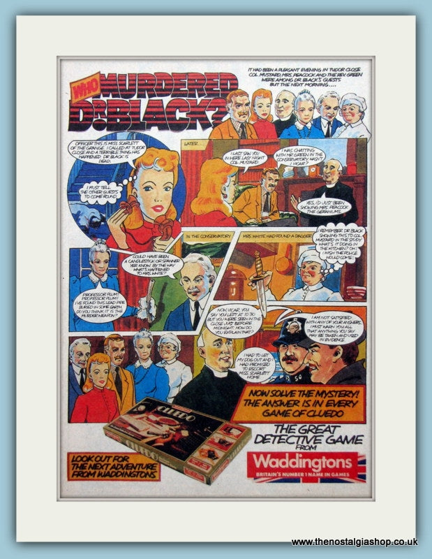 Waddingtons Cluedo Who Murdered Dr Black Original Advert 1983 (ref AD2644)