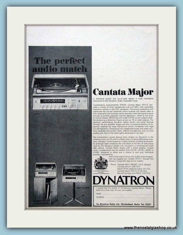 Dynatron Cantata Major Original Advert 1969 (ref AD3866)