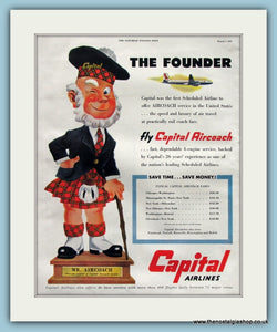 Capital Airlines Original Advert 1953 (ref AD8249)