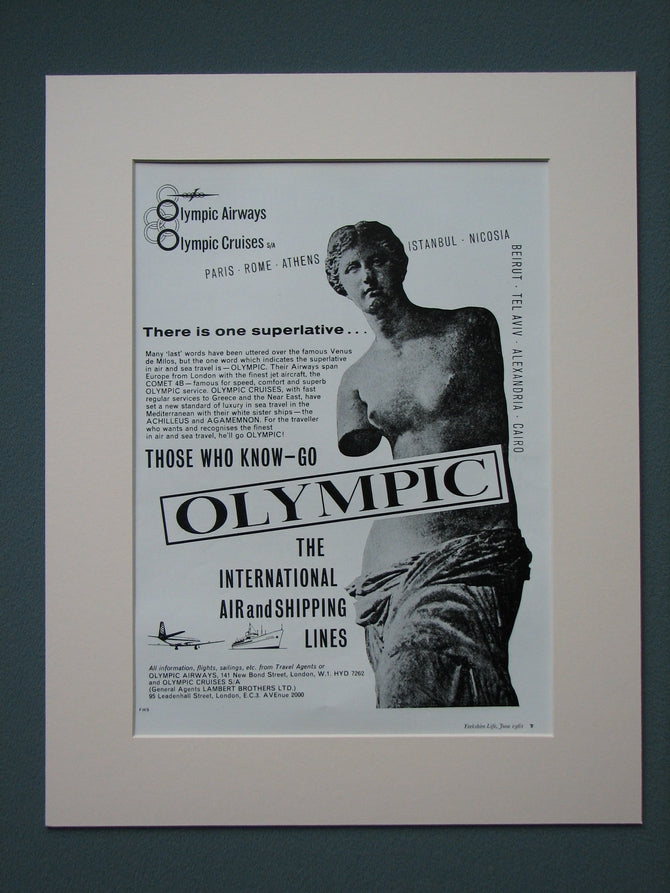 Olympic Airways & Shipping 1961 Original adverts  x2 (ref AD675)