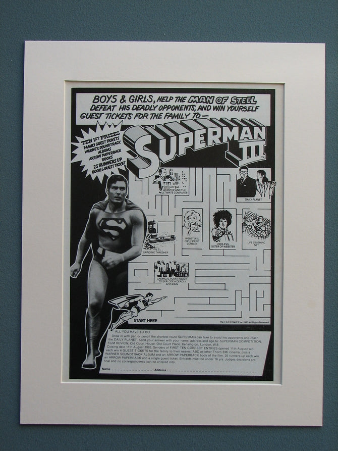 Superman III Competition advert 1983 (ref AD639)