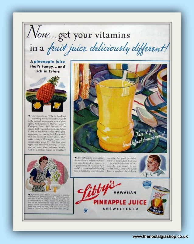Libby's Pineapple Juice. Original Advert  1935 (ref AD8121)