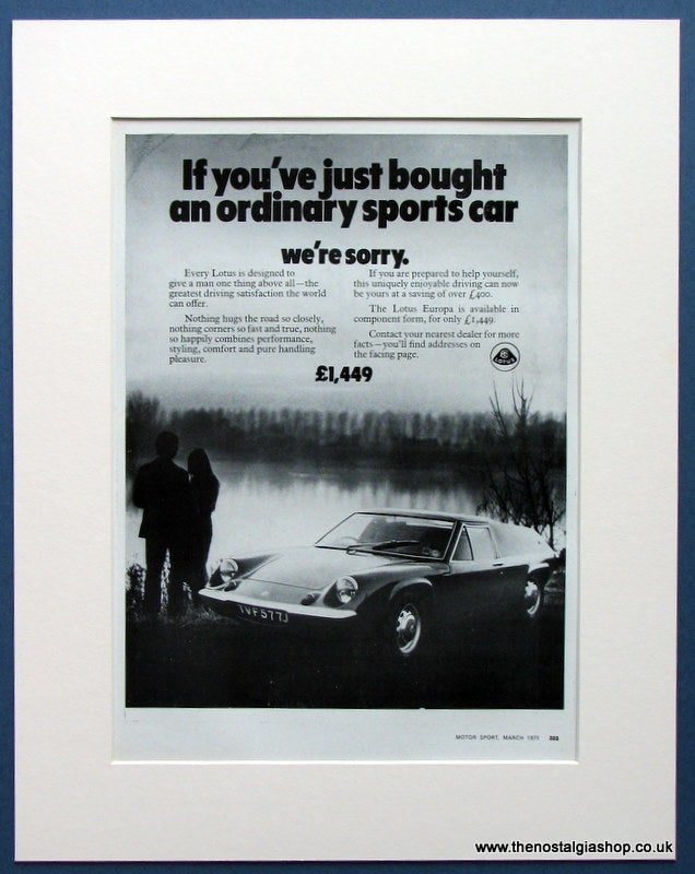 Lotus Europa 1971 Original Advert (ref AD1667)