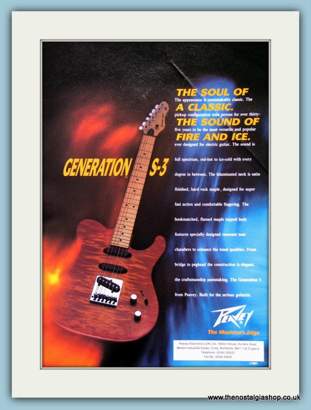 Generation S-3 Guitar from Peavey. Original Advert 1991 (ref AD2694)