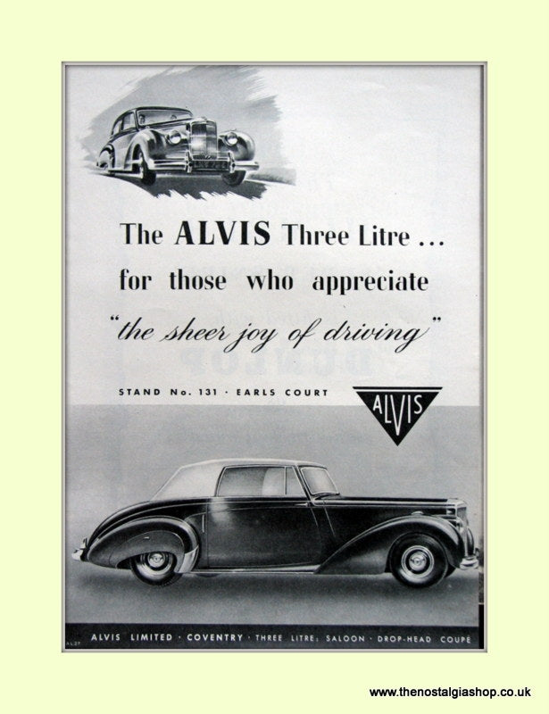 Alvis Original Advert 1952 (ref AD6639)