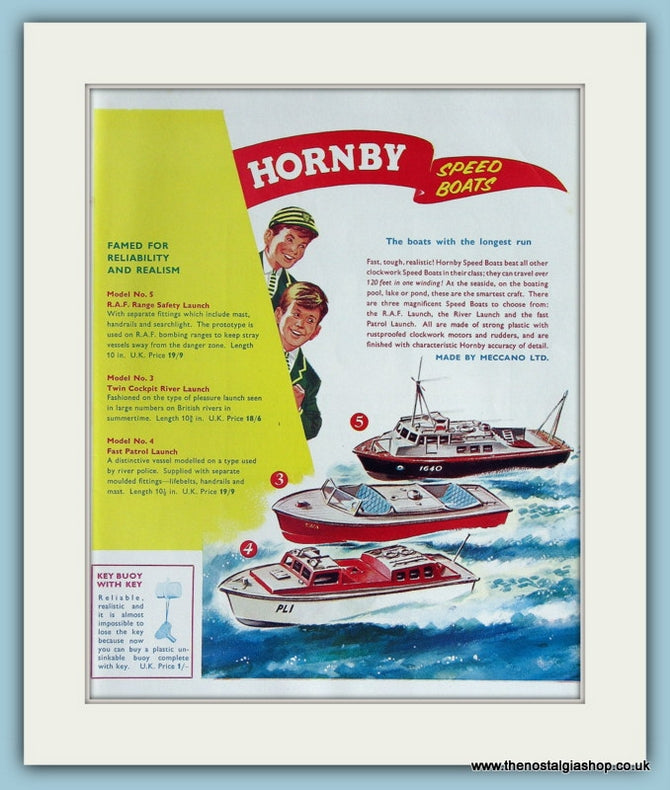 Hornby Speedboats 1961 Original Advert (ref AD2851)