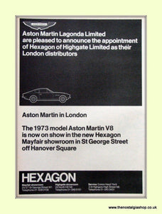 Aston Martin Lagonda Hexagon Distributors Original Advert 1973 (ref AD6748)