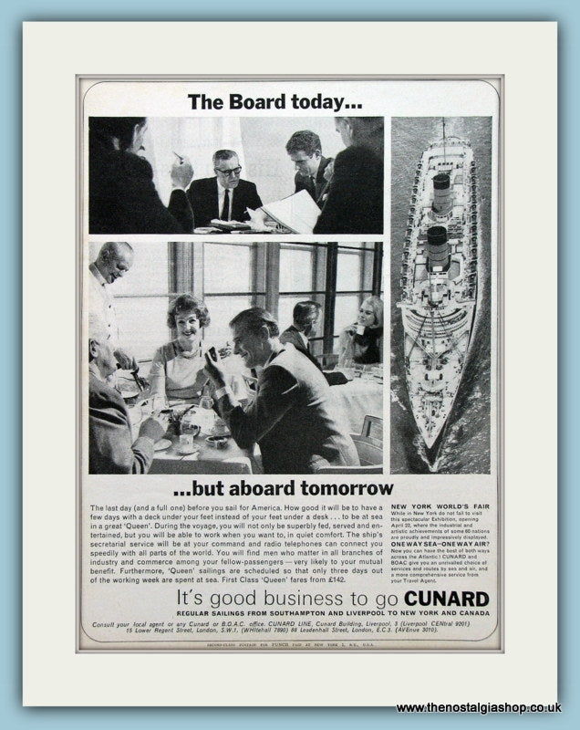Cunard Cruise Ship Original Advert 1964 (ref AD2319)