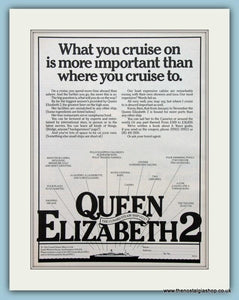 QE2 Cruise Ship Cunard. Set Of 2 Original Adverts 1979 (ref AD2312)
