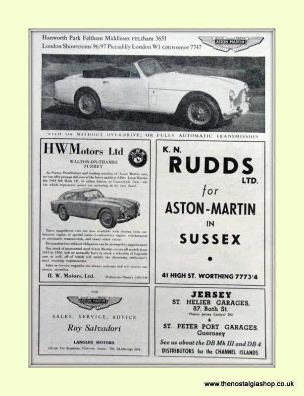 Aston Martin Garages Original Advert 1959 (ref AD6720)