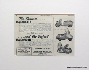 Maicoletta & Maicomobil Scooters, 1956 Original advert (ref AD1573)