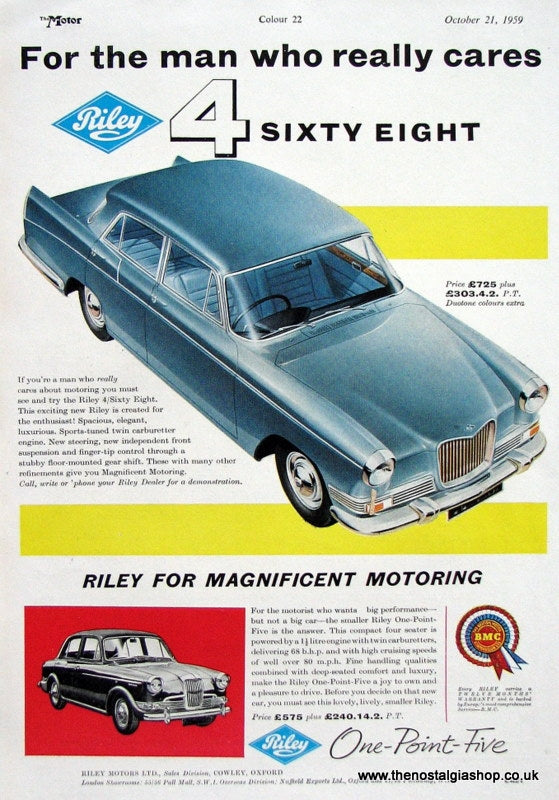 Riley 4 Sixty Eight 1959 Original Advert (ref AD1625)