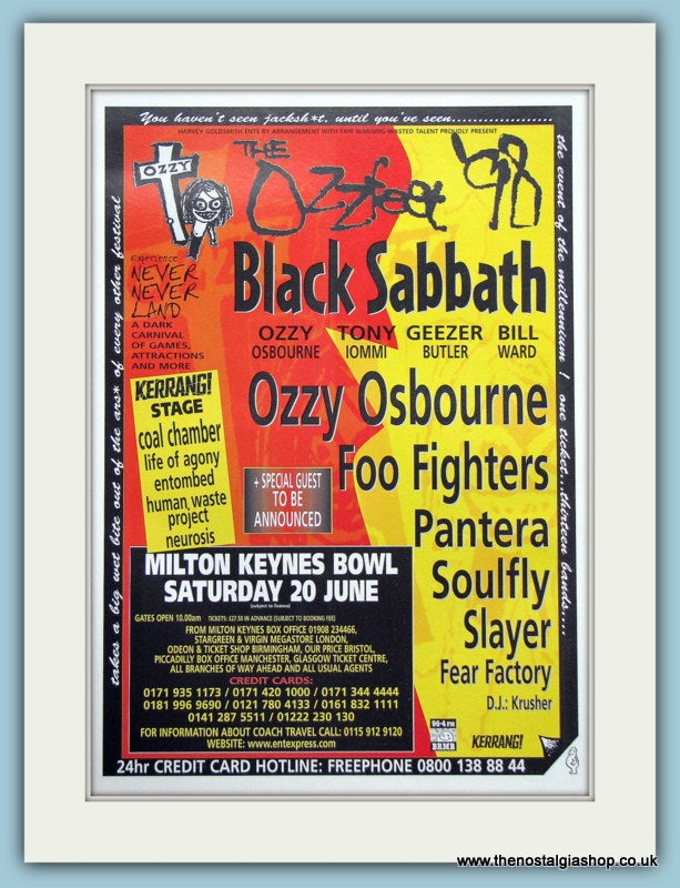 Ozzfest Festival Advert 1998 June (ref AD3361)