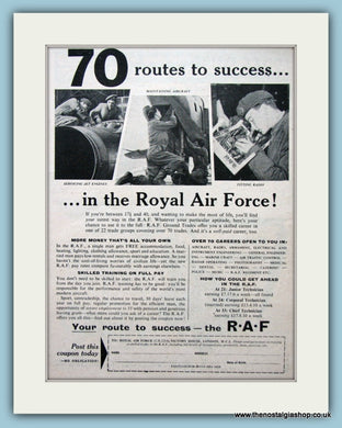 Royal Air Force Route To Success Original Advert 1957 (ref AD6294)