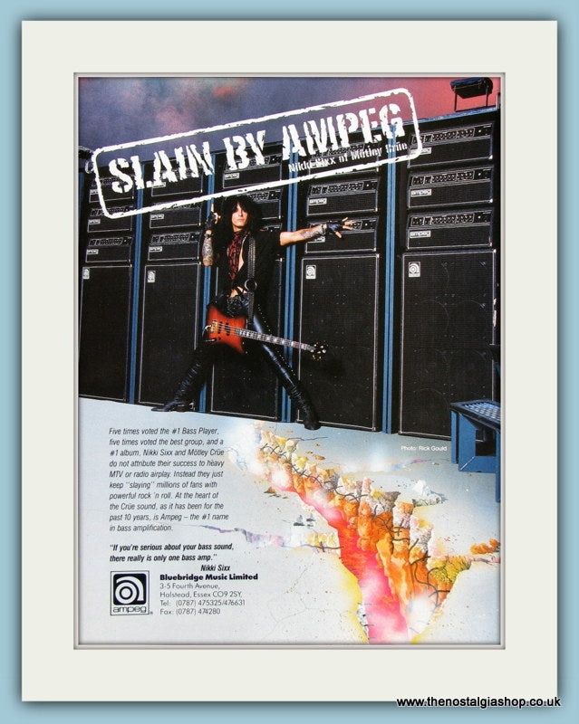 Ampeg Bass Amps with Nikki Sixx. Original Advert 1991 (ref AD2213)