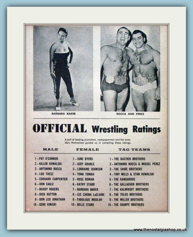 Wrestling Ratings 1960. Vintage Print. (ref AD5036)