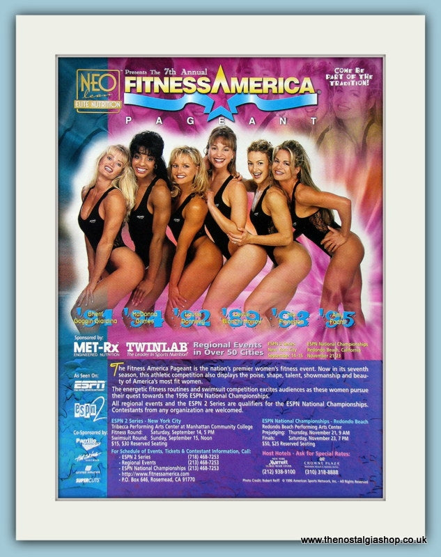 Fitness America Pageant Original Advert 1996 (ref AD3938)