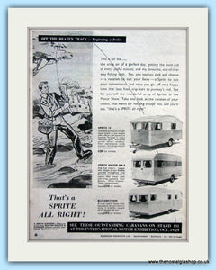 Sprite 14, Major & Elizabethan Caravans Original Advert 1955 (ref AD6354)