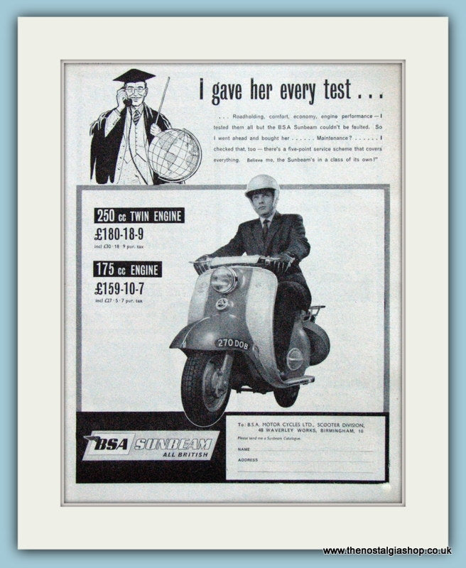 BSA Sunbeam Scooter, 1961 Original Advert (ref AD4081)