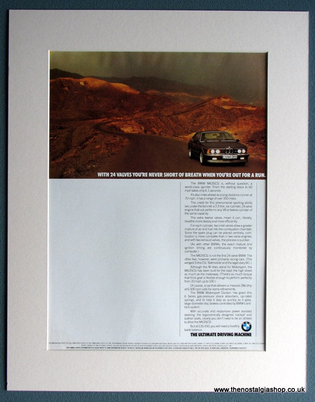 BMW M635CSi 1986 Original Advert (ref AD1644)