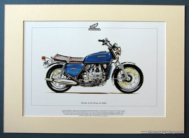 Honda Gold Wing GL1000 Mounted Motorcycle Print (ref PR3038)