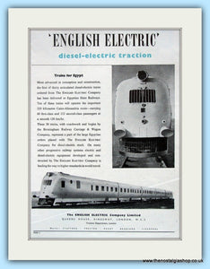 English Electric Trains For Egypt Original Advert 1951 (ref AD6481)