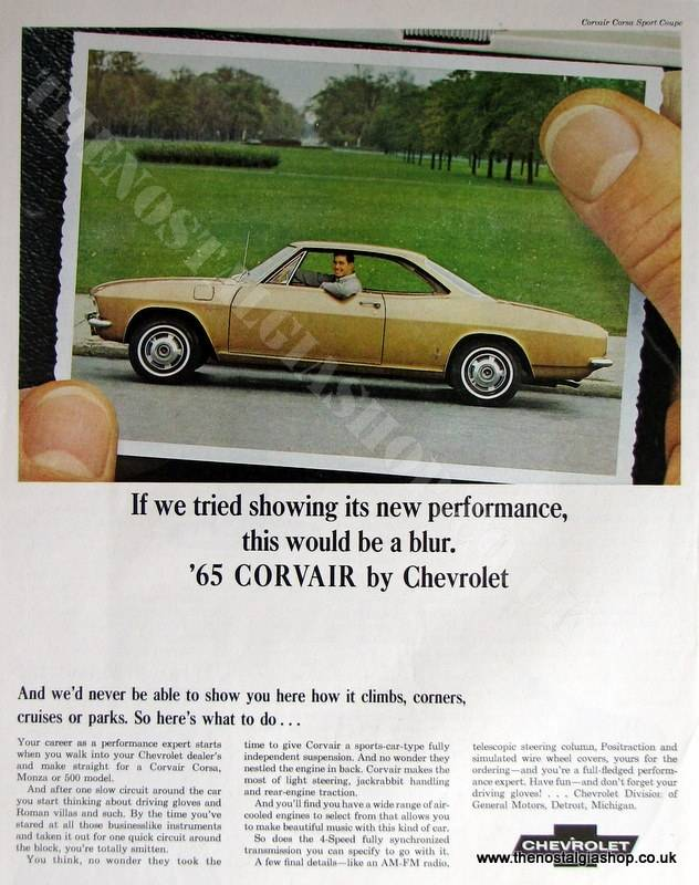Chevrolet Corvair '65. Original Advert 1965 (ref AD4008)