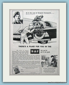 R.A.F Sergeant Farnsworth Original Advert 1953 (ref AD6292)