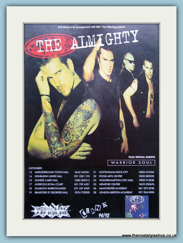 The Almighty, Crank Tour 1994/95 Original Advert (ref AD3151)