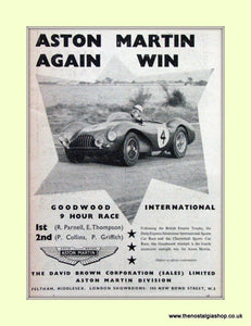 Aston Martin Goodwood 9 Hour Race Original Advert 1953 (ref AD6754)