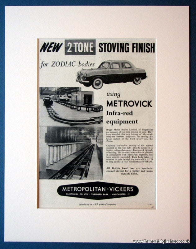 Ford Zodiac 2 tone Stoving Finish. Original advert 1954 (ref AD1128)